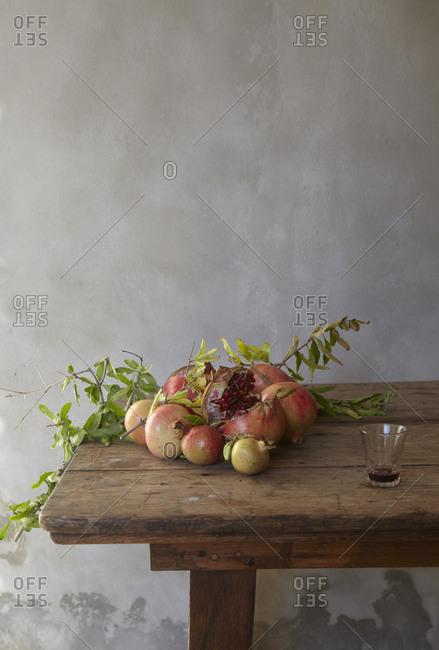 Pomegranates on table