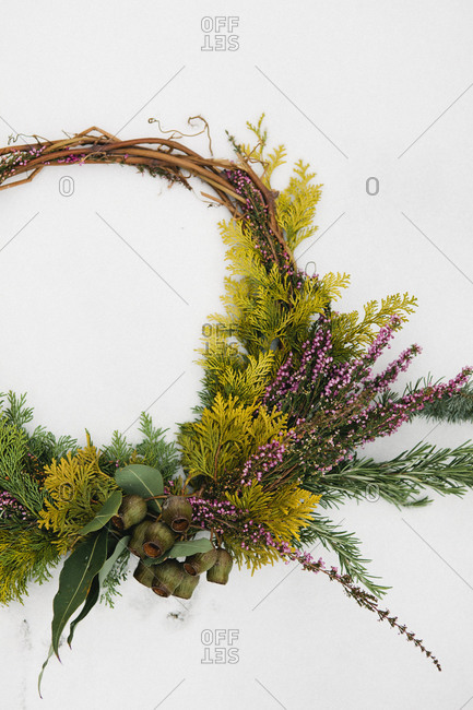 A close up view of a festive wreath