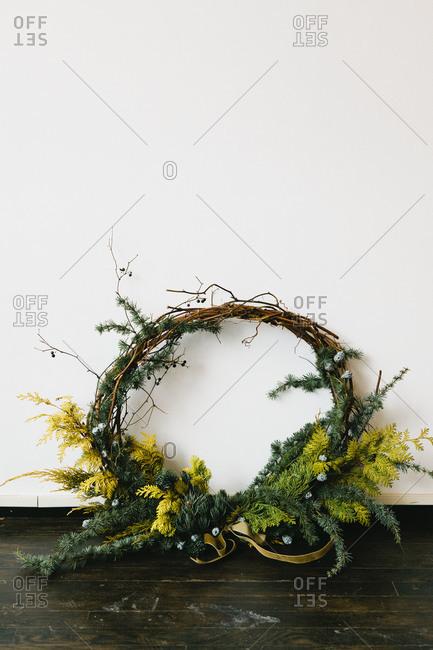 A still life view of a festive wreath