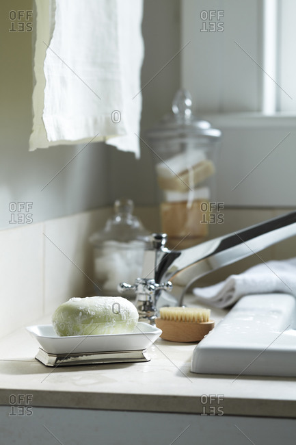 Bar of soap in bathroom interior