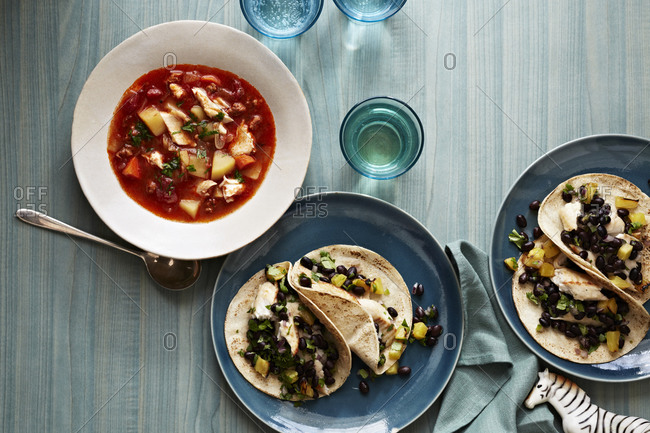 Fish tacos with Mexican style soup