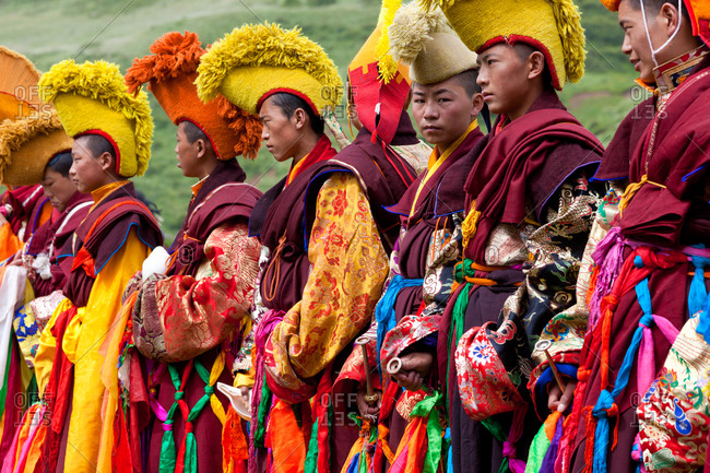 Monks at masked dance festival at Keno Gompa (monastery), Tagong, Tibetan area, Sichuan, China