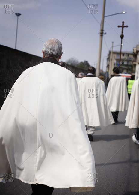 Priests marching on the street