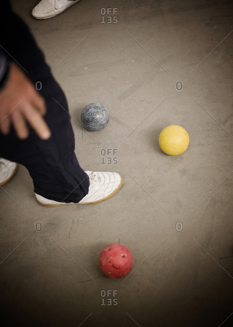 High angle view of croquet balls