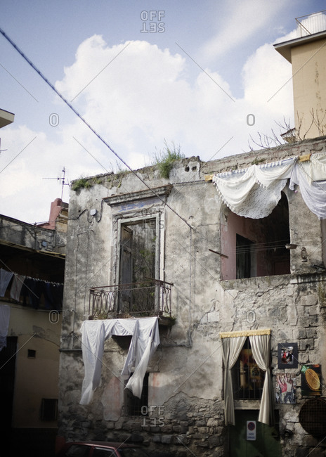 Exterior of a deteriorating building