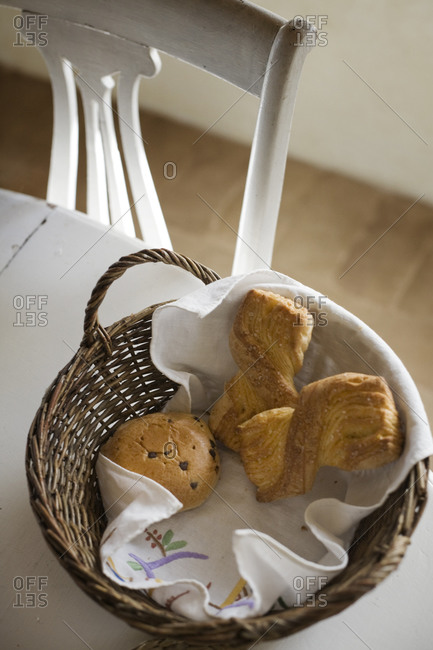 Overhead view of basket with pastry