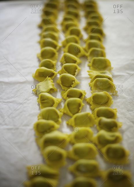 Traditional Italian tortellini in row