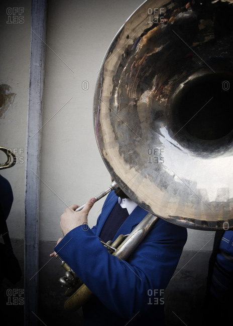 Sousaphone player in brass band