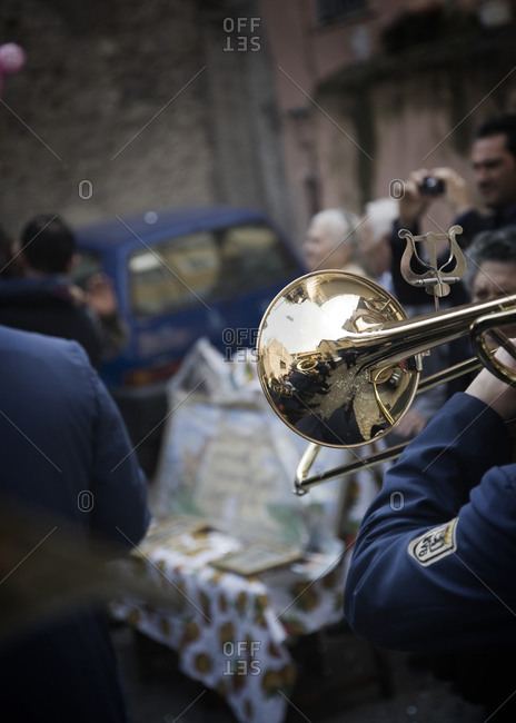 Trumpeter in brass band