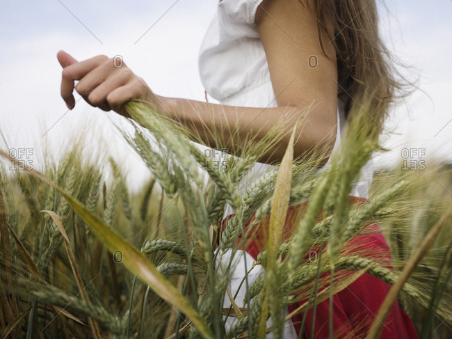 Young woman at a wheat field