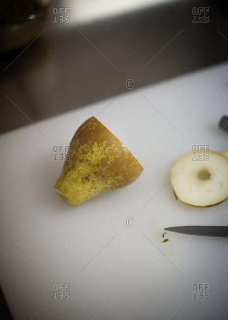Close-up of a half pear