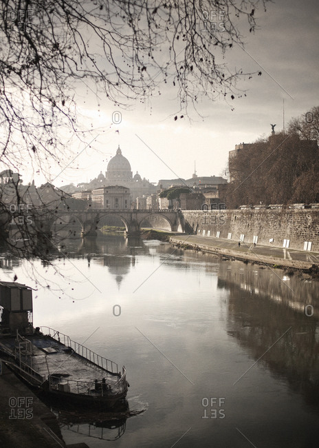 Saint Peter's Basilica and river banks in Rome