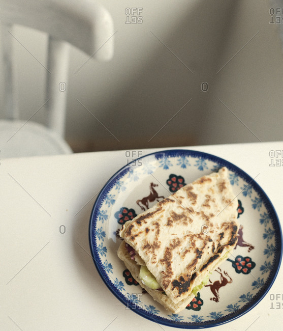 Top view of Piadina on plate