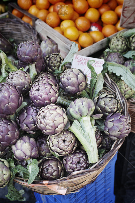Pile of artichokes on grocery stall