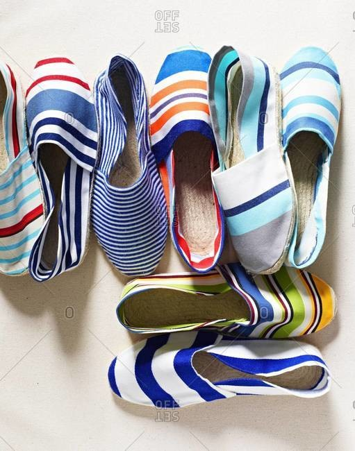 Top view of colorful espadrilles