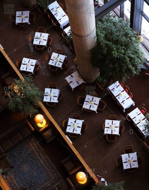 High angle view of the dining area of a hotel
