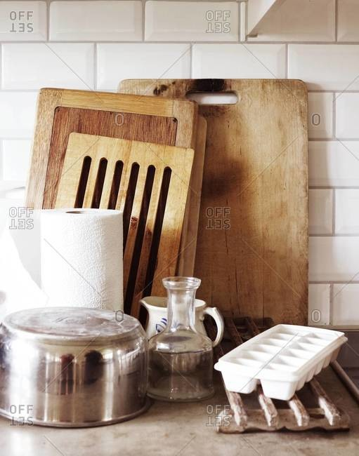 Washed cookware drying in kitchen