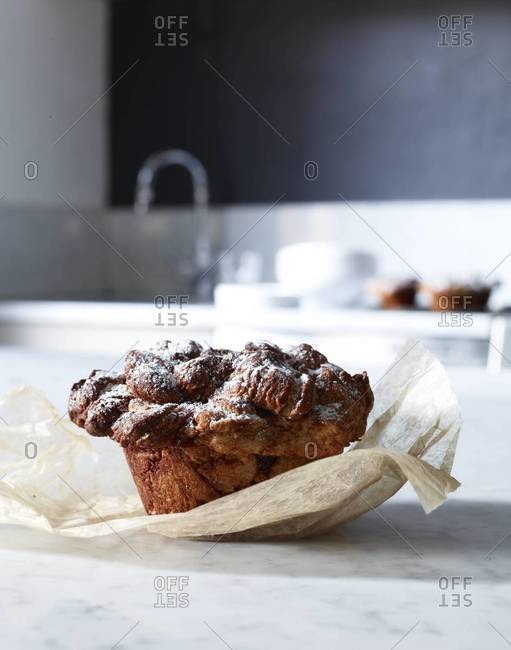 Raisin muffin on the table