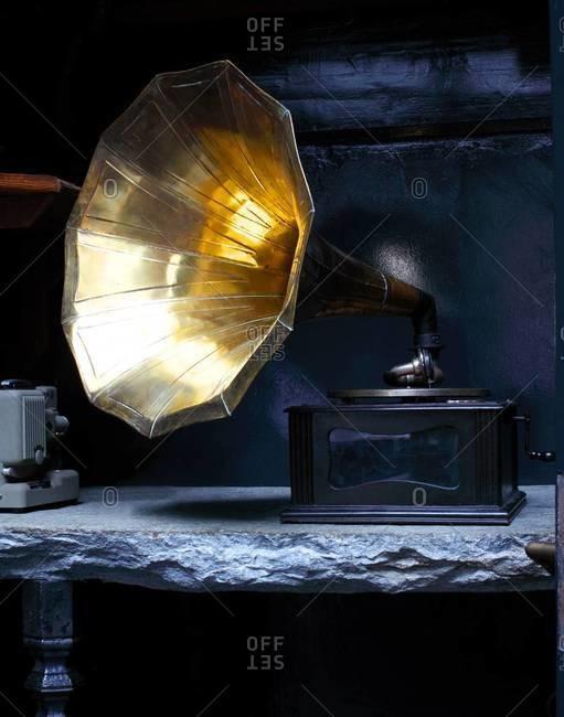 Retro old gramophone with golden horn speaker