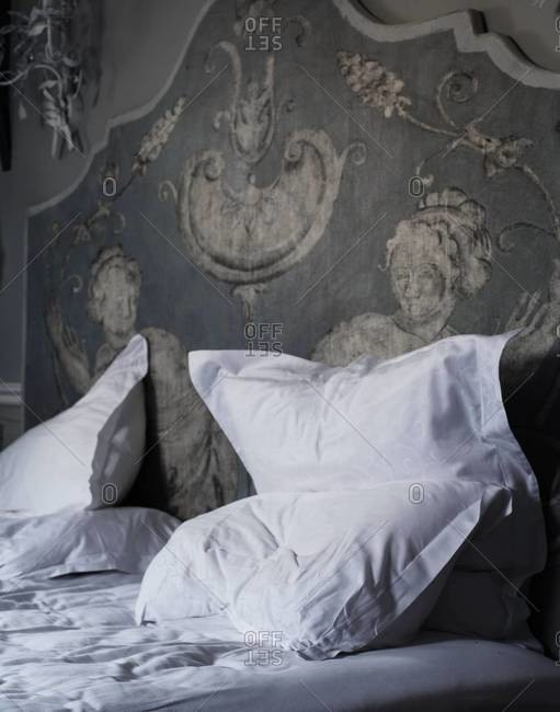 Close up of a bed with bedclothes