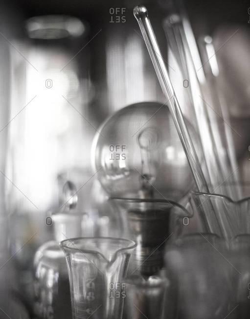 Various glassware against window light