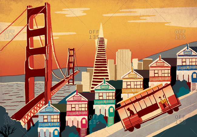 City illustration - San Francisco. From a hill with a streetcar on it, we look out onto the Painted Ladies and Downtown in the background, with the Golden Gate Bridge swooping over the bay in the background.