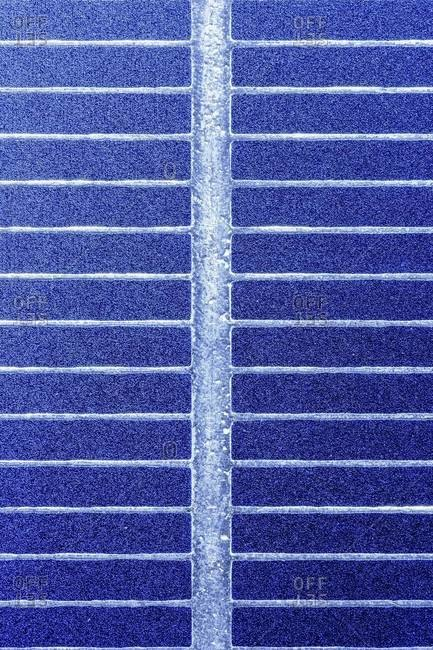 Close-up of a high performance solar cell made from a monocrystalline silicon wafer