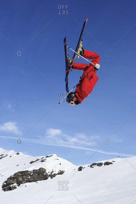 Skier jump in the French Alps, Val Thorens