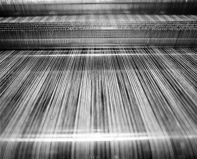 Close up of weaving process