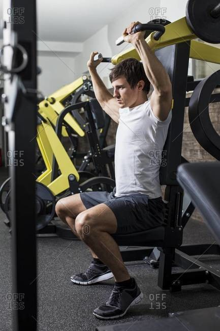 Man doing machine workout