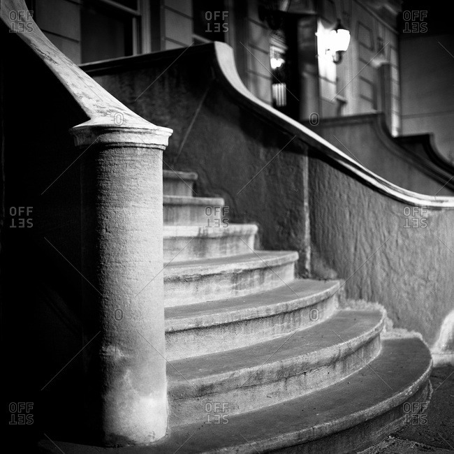 Stairway, banister and shadows