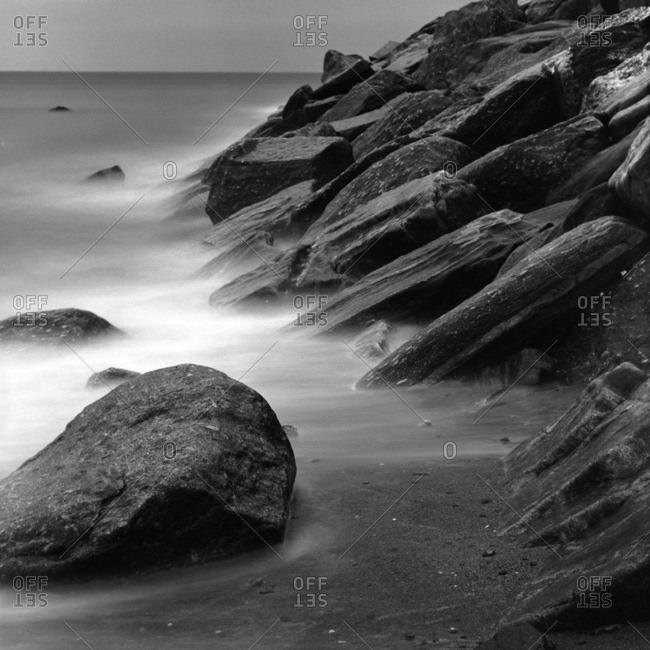 Long exposure of rocky coastline in New England