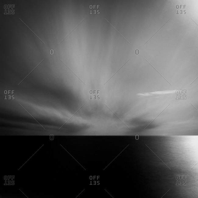 Dramatic Long Island horizon at night