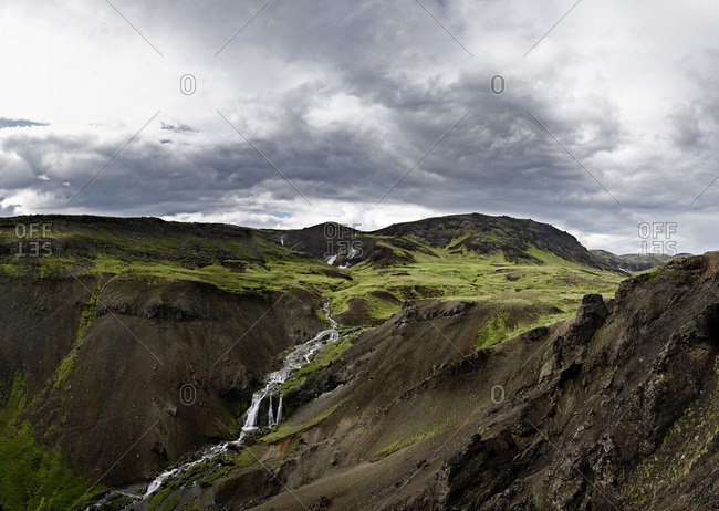 Landscape with Waterfall, Hveragerdi, South Iceland, Iceland