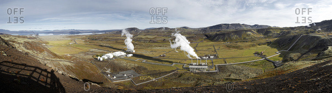 Overview of Nesjavellir Geothermal Power Station, South Iceland, Iceland