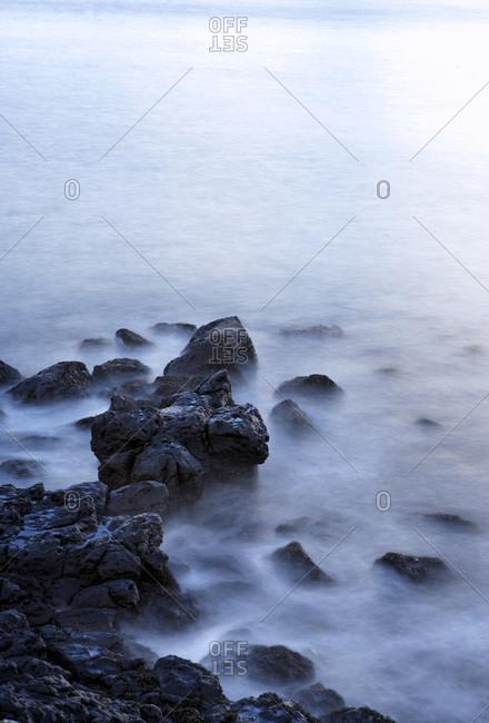 Long Exposure of Ocean and Rocks along Coast, Snaefellsnes Peninsula, Iceland