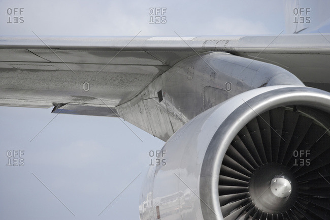 Close-up of Airplane Jet Engine and Wing, Surrey, England