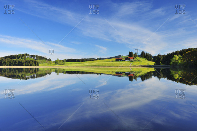 Landscape and Sky Reflecting in Lake, Sameister Weiher, Rosshaupten, Bavaria