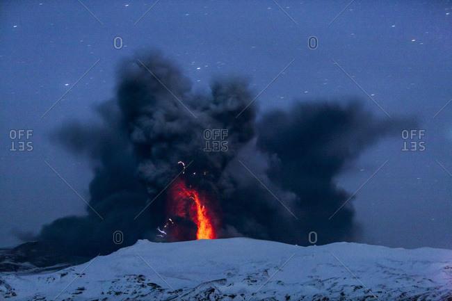 Eyjafjallajokull Volcano at Night, Lava inside Ash Cloud, Iceland