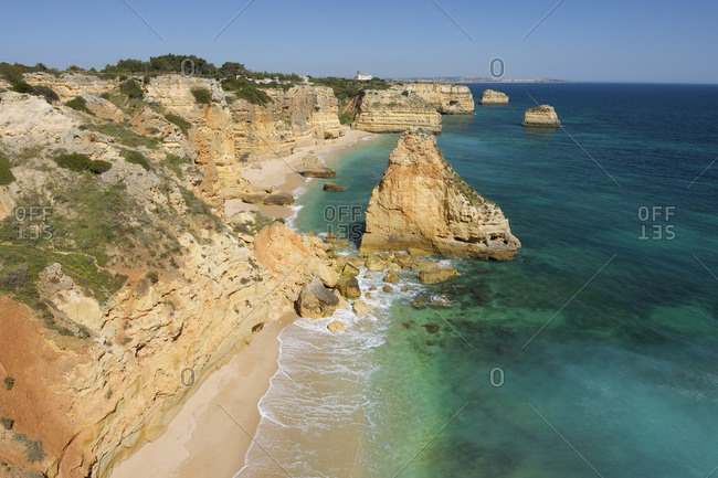 Rock Formations at Praia da Marinha and Atlantic Ocean, Lagoa, Algarve, Portugal