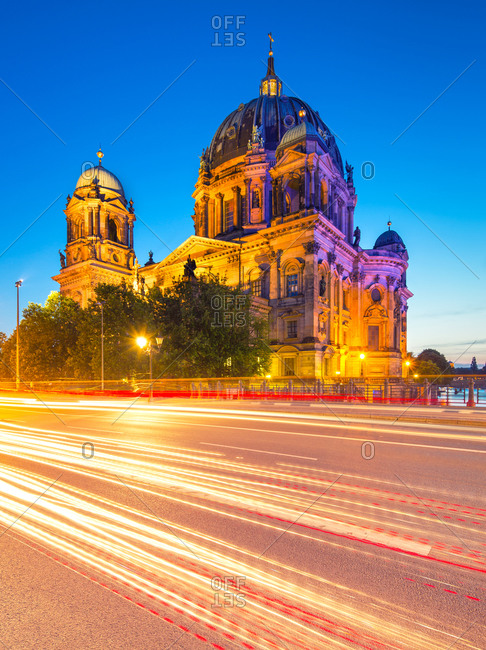 Exterior of the Berlin Cathedral in dusk, Germany