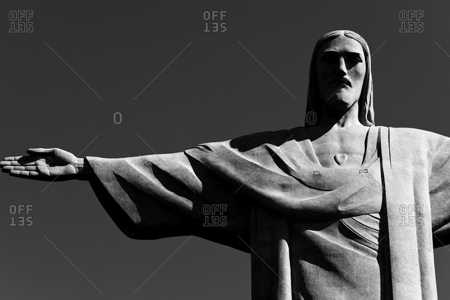 Statue of Christ the Redeemer in black and white, Rio de Janeiro