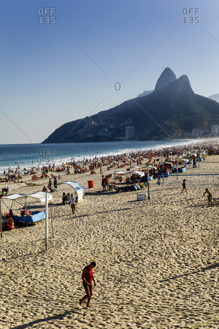 People sunbathing on the beach in Rio de Janeiro