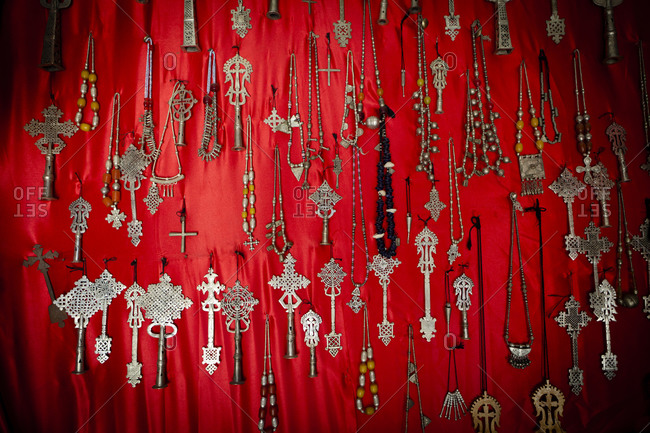 Close up of different shape of crosses from Ethiopia