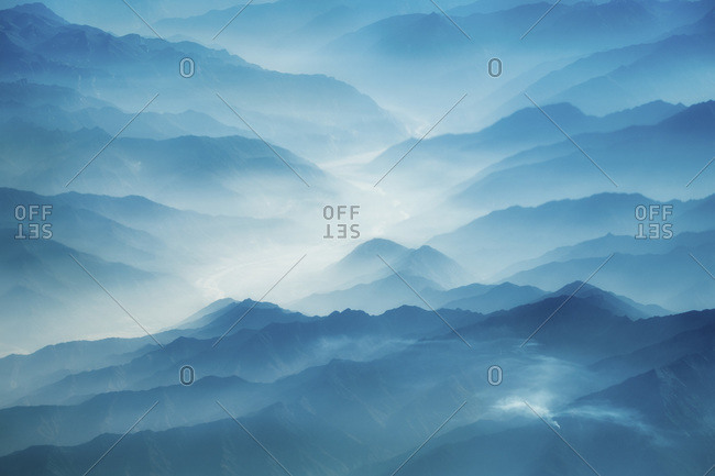 Misty morning over the Himalayas