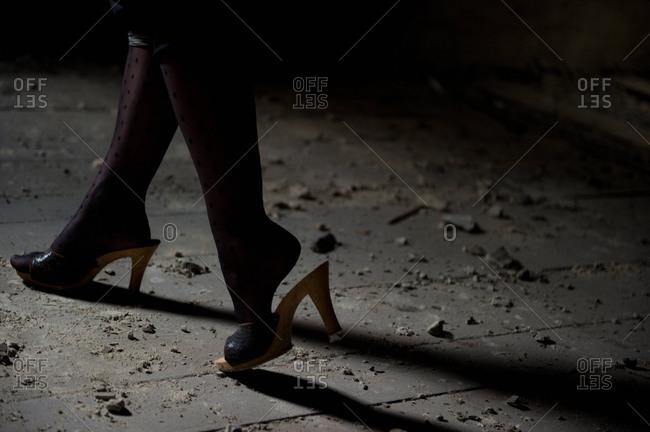 Woman Walking in High Heel Sandals