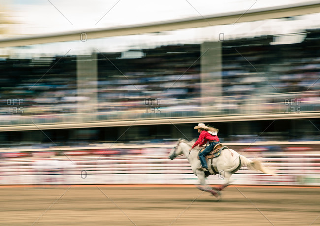 Cowgirl riding a horse at the Calgary Stampede
