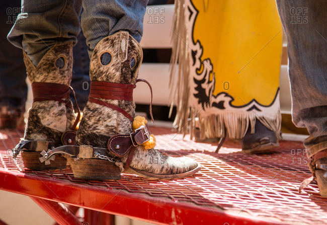 Close up of cowboy boots at the Calgary Stampede