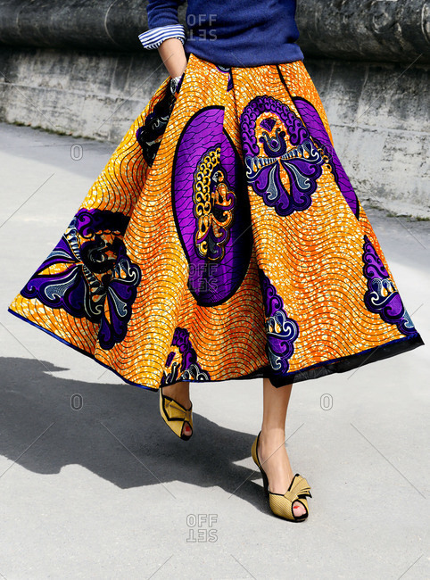 Woman wearing a colorful skirt