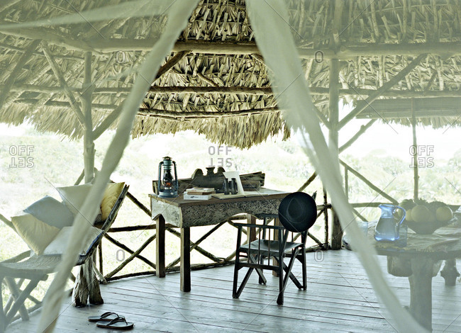 Thatched roof hut in the African wilderness